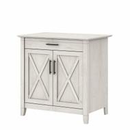 Bush Furniture Key West Secretary Desk with Keyboard Tray and Storage Cabinet Linen White Oak - KWS132LW-03