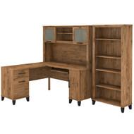 Bush Furniture Somerset 60W L Shaped Desk with Hutch and 5 Shelf Bookcase Fresh Walnut - SET010FW