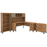 Bush Furniture Somerset 72W L Shaped Desk with Hutch, Lateral File Cabinet and Bookcase Fresh Walnut - SET012FW