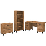 Bush Furniture Somerset 60W Office Desk with Lateral File Cabinet and 5 Shelf Bookcase Fresh Walnut - SET013FW