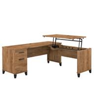Bush Furniture Somerset 72W 3 Position Sit to Stand L Shaped Desk Fresh Walnut - SET014FW