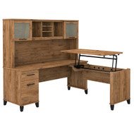 Bush Furniture Somerset 72W 3 Position Sit to Stand L Shaped Desk with Hutch Fresh Walnut - SET015FW