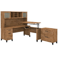 Bush Furniture Somerset 72W 3 Position Sit to Stand L Shaped Desk with Hutch and File Cabinet Fresh Walnut - SET016FW