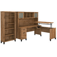 Bush Furniture Somerset 72W 3 Position Sit to Stand L Shaped Desk with Hutch and Bookcase Fresh Walnut - SET017FW
