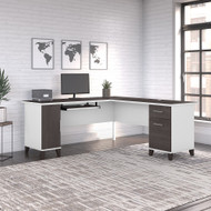 Bush Furniture Somerset 72W L Shaped Desk with Storage in White and Storm Gray - WC81010K