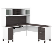 Bush Furniture Somerset 72W L Shaped Desk with Hutch in White and Storm Gray - SET001SGWH