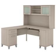 Bush Furniture Somerset 60W L Shaped Desk with Hutch in Sand Oak - SET002SO