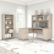 Bush Furniture Somerset 60W L Shaped Desk with Hutch and 5 Shelf Bookcase in Sand Oak - SET010SO