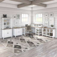 Mayfield 60W L Shaped Computer Desk with Chair and Storage Shiplap Gray - MAY023GW2
