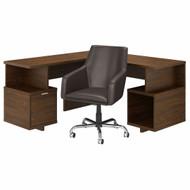 Kathy Ireland by Bush Industries Madison Avenue 60W L Shaped Desk and Chair Set Modern Walnut- MDS016MW