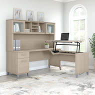 Bush Furniture Somerset 72W 3 Position Sit to Stand L Shaped Desk with Hutch in Sand Oak - SET015SO