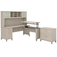 Bush Furniture Somerset 72W 3 Position Sit to Stand L Shaped Desk with Hutch and File Cabinet in Sand Oak - SET016SO