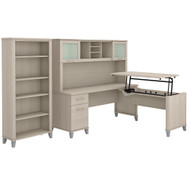 Bush Furniture Somerset 72W 3 Position Sit to Stand L Shaped Desk with Hutch and Bookcase in Sand Oak - SET017SO