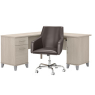 Bush Furniture Somerset 60W L Shaped Desk with Mid Back Leather Box Chair in Sand Oak - SET022SO