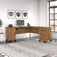 Bush Furniture Somerset 72W L Shaped Desk with Storage Fresh Walnut - WC81310K