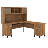 Bush Furniture Somerset 72W L Shaped Desk with Hutch Fresh Walnut - SET001FW