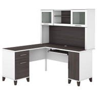 Bush Furniture Somerset 60W L Shaped Desk with Hutch in White and Storm Gray - SET002SGWH