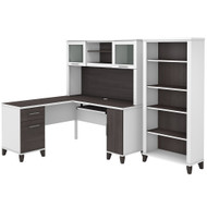 Bush Furniture Somerset 60W L Shaped Desk with Hutch and 5 Shelf Bookcase in White and Storm Gray - SET010SGWH