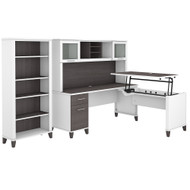 Bush Furniture Somerset 72W 3 Position Sit to Stand L Shaped Desk with Hutch and Bookcase in White and Storm Gray - SET017SGWH