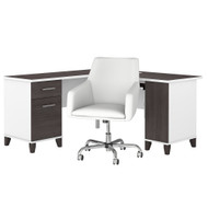 Bush Furniture Somerset 60W L Shaped Desk with Mid Back Leather Box Chair in White and Storm Gray - SET022SGWH