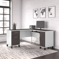 Bush Furniture Somerset 60W L Shaped Desk with Storage in White and Storm Gray - WC81030K