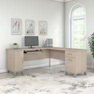 Bush Furniture Somerset 72W L Shaped Desk with Storage in Sand Oak - WC81110K