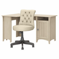 Bush Furniture Salinas 55W Corner Desk with Mid Back Tufted Office Chair Antique White - SAL017AW