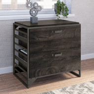 Bush Refinery 2 Drawer Lateral File Cabinet Dark Gray Hickory - RFF132GH-03