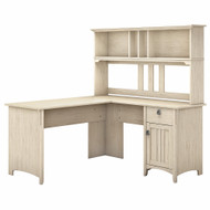 Bush Furniture Salinas 60W L Shaped Desk with Hutch in Antique White - SAL004AW