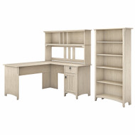 Bush Furniture Salinas 60W L Shaped Desk with Hutch and 5 Shelf Bookcase in Antique White - SAL006AW