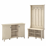 Bush Furniture Salinas Entryway Storage Set with Hall Tree, Shoe Bench and Accent Cabinet in Antique White - SAL008AW
