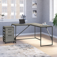 Bush Furniture Refinery 50W L Shaped Industrial Desk with 3 Drawer Mobile File Cabinet in Cottage White - RFY004CWH
