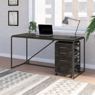Bush Furniture Refinery 62W Industrial Desk with 3 Drawer Mobile File Cabinet in Dark Gray Hickory - RFY005GH