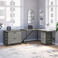 Bush Furniture Refinery 50W L Shaped Industrial Desk with File Cabinets in Cottage White - RFY009CWH