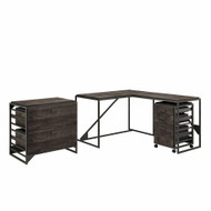 Bush Furniture Refinery 50W L Shaped Industrial Desk with File Cabinets in Dark Gray Hickory - RFY009GH