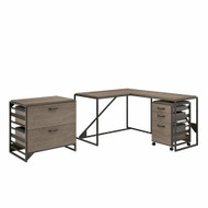 Bush Furniture Refinery 50W L Shaped Industrial Desk with File Cabinets in Restored Gray - RFY009RTG