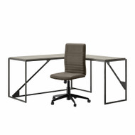 Bush Furniture Refinery 62W L Shaped Industrial Desk and Chair Set in Cottage White - RFY011CWH