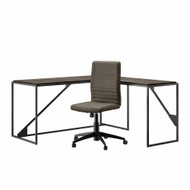 Bush Furniture Refinery 62W L Shaped Industrial Desk and Chair Set in Dark Gray Hickory - RFY011GH