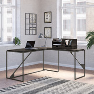 Bush Furniture Refinery 62W L Shaped Industrial Desk with Desktop Organizers in Dark Gray Hickory - RFY020GH