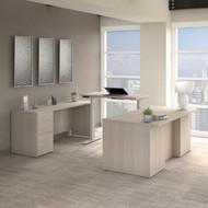 Bush Business Furniture Office 500 72W Height Adjustable U Shaped Executive Desk with Drawers Sand Oak - OF5005SOSU