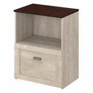 Bush Furniture Townhill Lateral File Cabinet in Washed Gray and Madison Cherry - TNF124WM2-03