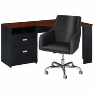 Bush Furniture Wheaton 60W Reversible Corner Desk and Chair Set in Antique Black and Hansen Cherry - WH003AB
