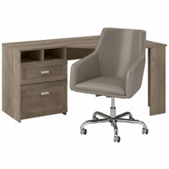 Bush Furniture Wheaton 60W Reversible Corner Desk and Chair Set in Driftwood Gray - WH003DG