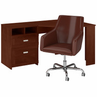 Bush Furniture Wheaton 60W Reversible Corner Desk and Chair Set in Hansen Cherry - WH003HC