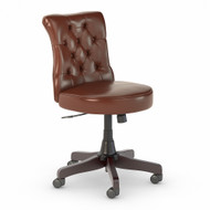Bush Furniture Fairview Mid Back Tufted Office Chair Harvest Cherry Leather- FV018CS