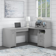 Bush Furniture Fairview 60W L Shaped Desk with Storage and Desktop Organizers in Cape Code Gray - FV022CG