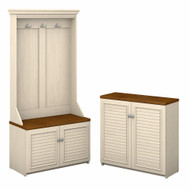 Bush Furniture Fairview Hall Tree with Storage Bench and 2 Door Cabinet Antique White - FV023AW