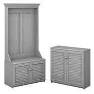 Bush Furniture Fairview Hall Tree with Storage Bench and 2 Door Cabinet Cape Cod Gray - FV023CG