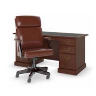 Bush Saratoga Collection Executive Desk and Chair Set Harvest Cherry - SAR007CS