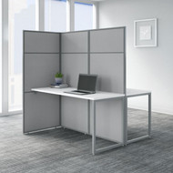 Bush Business Furniture  Easy Office 60W 2 Person Desk with 66H Cubicle Panel Pure White - EODH460WH-03K